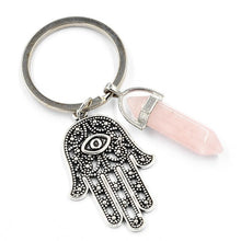 Load image into Gallery viewer, Natural Stone Crystal Keychain Evil Eye Hand Of Fatima Hexagonal