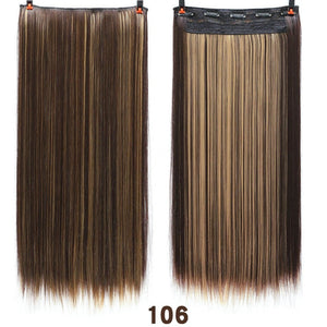 24'' Long Straight Women Clip in Hair Extensions Black Brown High Tempreture Synthetic Hair Piece