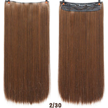 Load image into Gallery viewer, 24'' Long Straight Women Clip in Hair Extensions Black Brown High Tempreture Synthetic Hair Piece