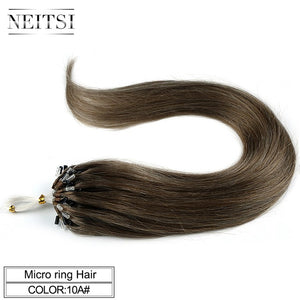 "Neitsi Straight Loop Micro Ring Hair 100% Human Micro Bead Links Machine Made Remy Hair Extension 16"" 20"" 24"" 1g/s 50g 20 Colors"