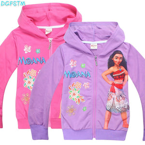 Hoodies moana Baby Girl Jacket Spring Children Girl Sweaters 2017 Fall 4-10 Yrs Cartoon Clothing  Zipper Coat Overcoat Girl