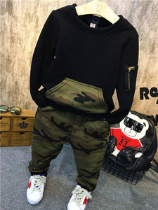 1-4Year Boys Clothing Set 2018 Spring Fall Children's Wear Sportswear Complete Set + Camouflage Pants Set Kids Wear Sportswear