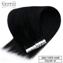 "Load image into Gallery viewer, Neitsi Mini Tape In None Remy Human Hair Adhesive Extension 12"" 16"" 20"" 10/20/40pcs 13 Colors Straight Skin Weft Natural Hair"