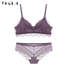 Load image into Gallery viewer, New Top Blue Bra Panties Set Lace Lingerie Thin Cotton  Brassiere Wire Free Embroider Bra Women Underwear Set Sexy Deep V Gather