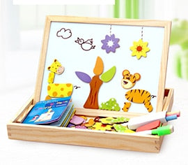 100+PCS Wooden Magnetic Puzzle Figure/Animals/ Vehicle /Circus Drawing Board 5 styles Box