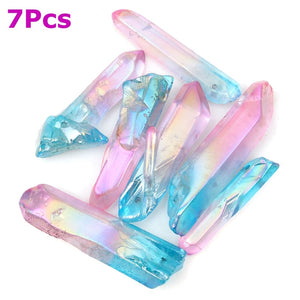 KiWarm 7pcs Pink Blue Titanium Natural Quartz Crystal Points Pendant