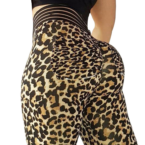 Women  Push Up Leopard Leggings Elastic  3 Color