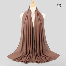 Load image into Gallery viewer, 1 pc New Arrival plain bling bubble chiffon hijab scarf shimmer with crystal chain