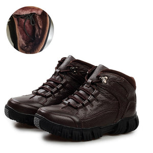 Genuine Leather Men Boots, Handmade Super Warm  Winter High Quality Ankle Boots