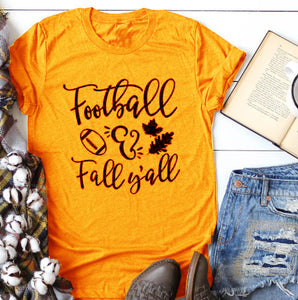 Football fall y'all Hipster Slogan T-Shirt Fashion Y'all Football Harajuku Cotton Grunge Vintage Yellow Clothes Tops tees