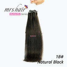 "Load image into Gallery viewer, Mrs Hair Micro Ring Hair Extensions 1g/Stand 50pieces Machine Made Remy Micro Bead Hair Loop Human Hair 14"" 18"" Butterfly Series"