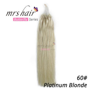 "Mrs Hair Micro Ring Hair Extensions 1g/Stand 50pieces Machine Made Remy Micro Bead Hair Loop Human Hair 14"" 18"" Butterfly Series"