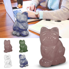 Load image into Gallery viewer, Cute Kitten Natural Fluorspar Crystal Jade Lucky Fortune Cat Home Decoration Pure Hand-Carved Craft Treatment Stones