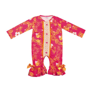 2018 Wholesale Fall Boutique Baby Long Sleeve Cotton Romper Baby Girls Clothes Ruffle Boutique Romper Match Outfit GPF808-244