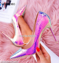 Load image into Gallery viewer, New fashion snake printing silver wedding shoes big size 35-43 sexy pointed toe high heels pumps
