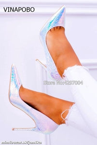 New fashion snake printing silver wedding shoes big size 35-43 sexy pointed toe high heels pumps