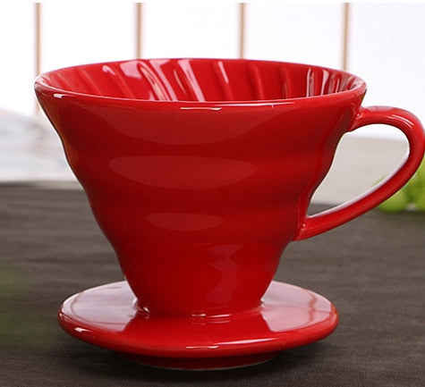 Ceramic Coffee Drip Filter Cup Permanent Pour Over Coffee Maker with Separate Stand for 1-4 Cups