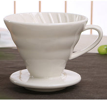 Load image into Gallery viewer, Ceramic Coffee Drip Filter Cup Permanent Pour Over Coffee Maker with Separate Stand for 1-4 Cups