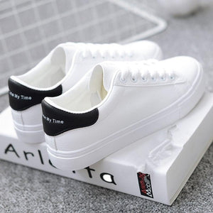Women Sneakers 2018 Fashion Breathble Vulcanized Shoes Pu leather Platform Lace up Casual White  Tenis Feminino Zapatos De Mujer