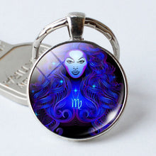 Load image into Gallery viewer, NEW Zodiac Sign Keychain 12 Constellation Leo Virgo Libra Scorpio Sagittarius Pendant Double Face Keyring Key Holder Birthday