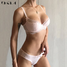 Load image into Gallery viewer, Fashion Young Girl Bra Set Plus Size D E Cup Thin Cotton Underwear Set Women Sexy Brassiere Pink Lace Bras Push Up Embroidery