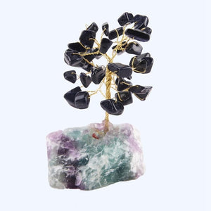 8CM Tall Crystal Lucky Money Stone Tree Figurine Ornaments Feng Shui