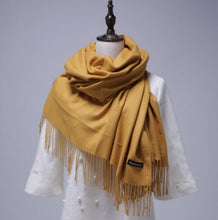 Load image into Gallery viewer, Women solid color cashmere scarves with tassel lady spring autumn thin long scarf