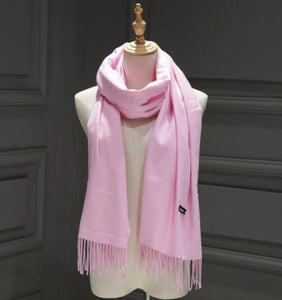 Women solid color cashmere scarves with tassel lady spring autumn thin long scarf