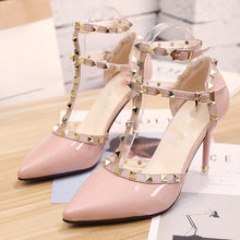 Load image into Gallery viewer, Sexy Hasp Rivet Heels Female leather  pumps Stiletto