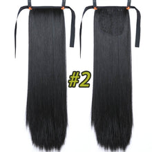 "Load image into Gallery viewer, JINKAILI  85cm 32"" Super Long Straight Clip In Tail False Hair Ponytail Hairpiece With Hairpins Synthetic Pony Tail Extensions"