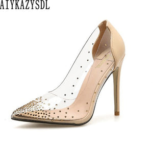 AIYKAZYSDL 2019 Women PVC Clear Transparent Pumps Rhinestone Crystal High Heel Sexy Wedding Bridesmaid Party Clubwear Stilettos