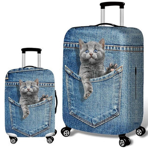 Stretch Fabric Cute Cat  Protective Cover Suit 18-32 Inch Trolley Suitcase Case Covers Travel Accessories