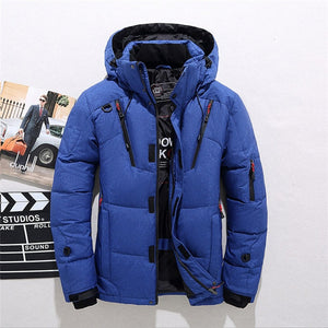 High quality men's winter jacket thick snow parka overcoat white duck down  wind breaker