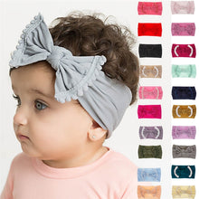 Load image into Gallery viewer, Cute Baby Girl Kid Big Bow Hairband Headband Solid Cotton Stretch Turban Knot Head Wrap Headwear Girls Tassels Headband 0-6Years