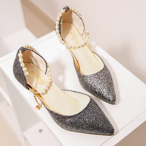 Sexy Pointed toe Pearl High heels  with Sandals Paillette of the Thin Breathable Women Pumps