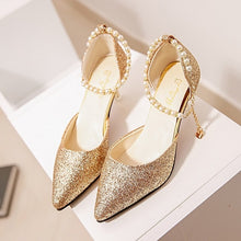 Load image into Gallery viewer, Sexy Pointed toe Pearl High heels  with Sandals Paillette of the Thin Breathable Women Pumps
