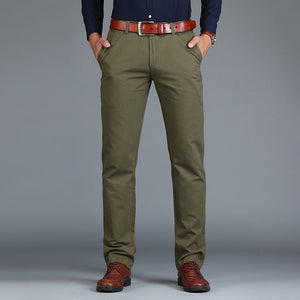 New Men's Pants Straight Loose Casual Large Size Cotton Fashion Business Suit Pants Green Brown Grey