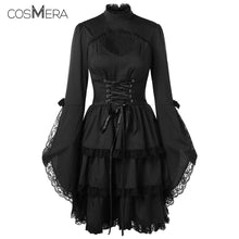 Load image into Gallery viewer, CosMera Gothic Dress Flare Sleeve Cut Out Lace Trim Stand Collar Long Sleeve Black Lace Dress Women Vestidos Female Fall Dresses