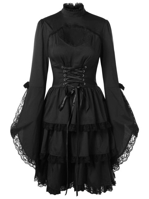 CosMera Gothic Dress Flare Sleeve Cut Out Lace Trim Stand Collar Long Sleeve Black Lace Dress Women Vestidos Female Fall Dresses