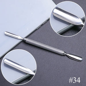 10 Style Stainless Steel Cuticle Remover Double Head Pusher Finger
