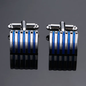 Copper quality enamel square stripes gold silver black flower cufflinks Top brand men's French shirt cufflinks