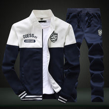 Load image into Gallery viewer, 2019 New Men Sets Fashion Sporting Suit Brand Patchwork Zipper 2 Pieces Sets Slim Tracksuit