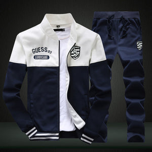2019 New Men Sets Fashion Sporting Suit Brand Patchwork Zipper 2 Pieces Sets Slim Tracksuit