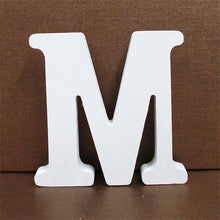 Load image into Gallery viewer, 1pc 10CMX10CM White Wooden Letter English Alphabet DIY Personalised Name Design Art Craft Free Standing Heart Wedding Home Decor