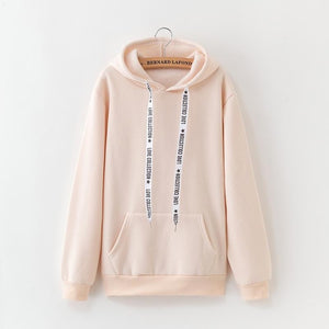 2019 New Social Harajuku Hoodies For Girls Solid Color Sweatshirt Winter Velvet Thickening Coat