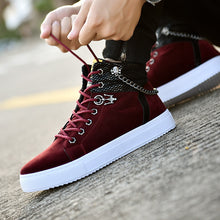 Load image into Gallery viewer, High Quality Men Vulcanized New High Top Canvas Casual  Autumn Leather Sneakers Plus Size