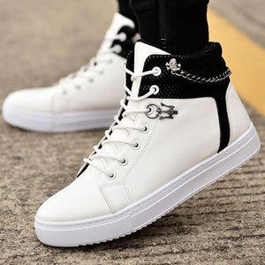 High Quality Men Vulcanized New High Top Canvas Casual  Autumn Leather Sneakers Plus Size