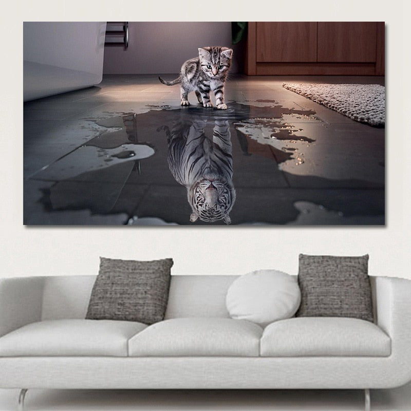 Cat Tiger Reflection Creative Canvas  Wall Hanging Printed Decoration