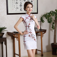 Load image into Gallery viewer, Chinese Women White Flower Wedding Qipao Vintage Mandarin Collar Cotton Mini Cheongsam Plus Size Short Sleeve Evening Dress