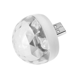 Portable Mini USB Disco DJ Party LED Lights RGBW Crystal Magic Ball Effect Stage Lamp Voice Music Control